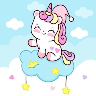Simpatico cartone animato unicorno dormire su dolce nuvola kawaii animale