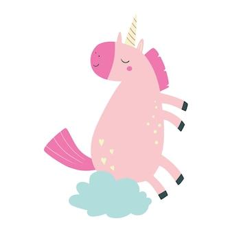 Unicorno carino illustrazione vettoriale in stile cartone animato con unicorno