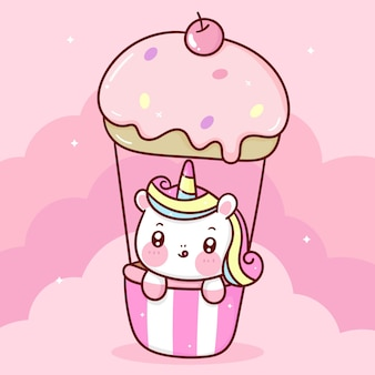 Simpatico cartone animato unicorno su animali kawaii cielo pastello palloncino cupcake dolce