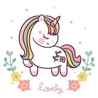 Simpatico cartone animato unicorno swith fiore stile kawaii