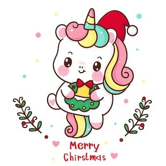 Simpatico cartone animato unicorno indossa cappello da babbo natale con ghirlanda personaggio kawaii animale
