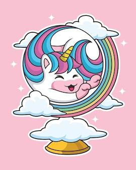 Cartone animato carino unicorno con posa carina circondato da nuvole
