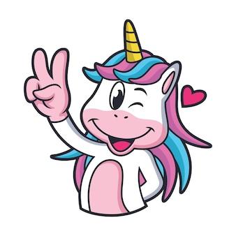 Simpatico cartone animato unicorno con ciambelle nel suo corpo