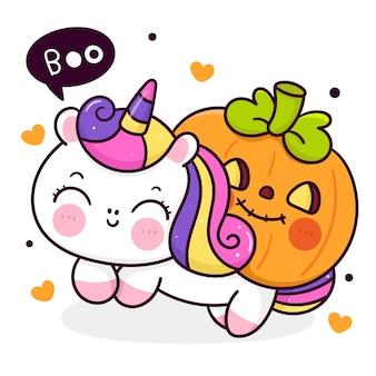 Simpatico cartone animato unicorno con zucca di halloween kawaii animal