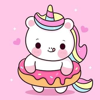 Cartone animato carino unicorno con animale kawaii dolce dessert