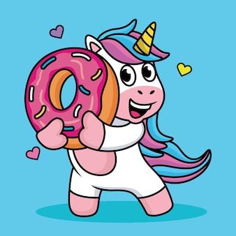 Simpatico cartone animato unicorno con ciambelle dolci e amore