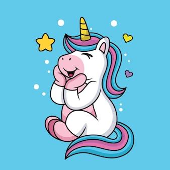 Simpatico cartone animato unicorno con ciambelle dolci e amore.