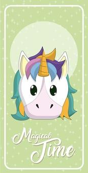 Cartone animato unicorno carino