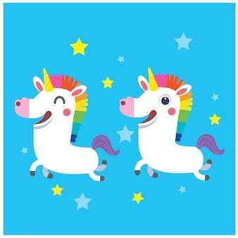 Simpatico personaggio unicorno su sfondo blu