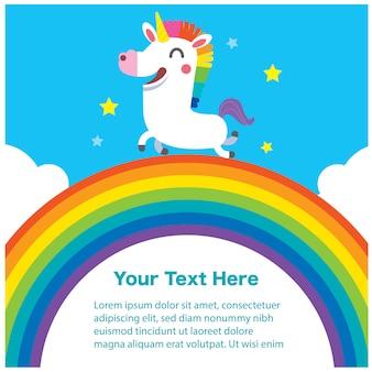 Simpatico personaggio unicorno sull'arcobaleno con messaggio