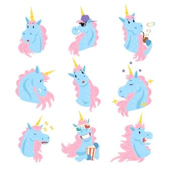 Set di caratteri unicorno carino, alberi umanizzati divertenti con diverse emozioni colorate illustrazioni disegnate a mano su sfondo bianco