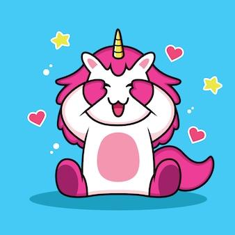 Unicorno carino chiudendo gli occhi con amore