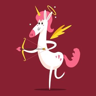 Cupido unicorno carino con personaggio dei cartoni animati di arco e freccia isolato su priorità bassa.