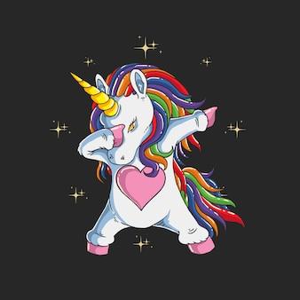 Carino unicorno tamponando illustrazione grafica
