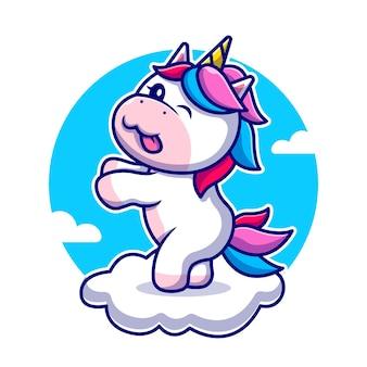 Unicorno sveglio che balla sull'illustrazione dell'icona del fumetto della nuvola. icona della natura animale isolata. stile cartone animato piatto