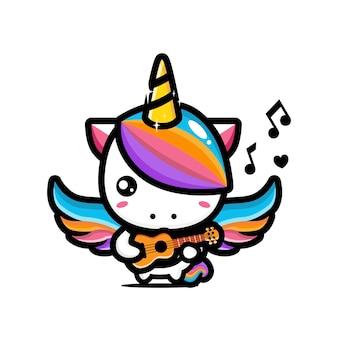 Il design carino dell'unicorno sta suonando l'ukulele