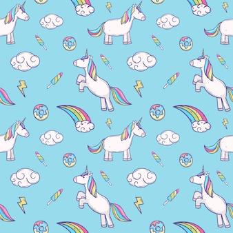 Modello senza cuciture carino ciambella unicorno