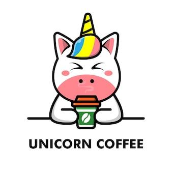 Unicorno carino bere tazza di caffè fumetto animale logo caffè illustrazione