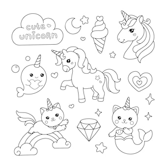 Simpatici elementi di unicorno che disegnano l'illustrazione della pagina da colorare
