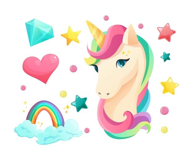 Faccia di unicorno carino in stile piatto con elementi dolci da ragazza