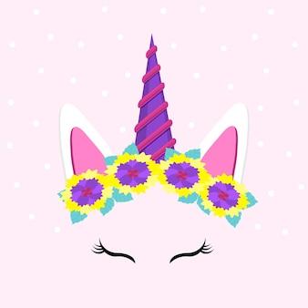Simpatico viso di unicorno personaggio divertente con illustrazione vettoriale di fiori