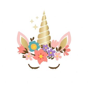 Faccia di unicorno carino con fiori