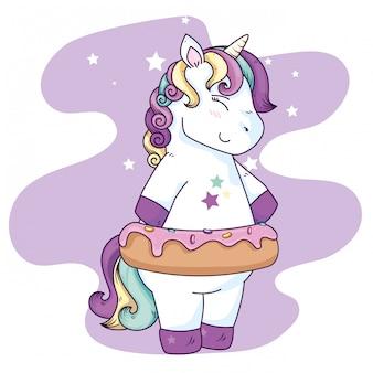Fantastica fantasia unicorno con decorazione ciambella e stelle