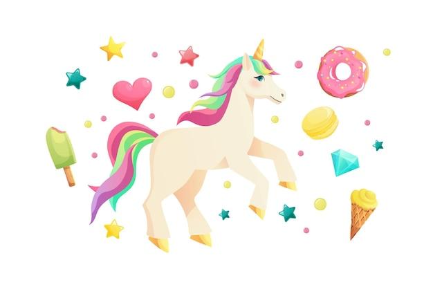 Unicorno carino in illustrazione stile piatto
