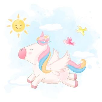 Volo sveglio dell'unicorno sul cielo disegnato a mano