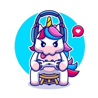 Illustrazione sveglia dell'icona del fumetto di gioco dell'unicorno. icona di tecnologia animale isolata. stile cartone animato piatto