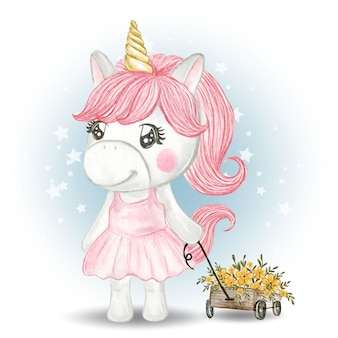Fiori di trasporto della ragazza sveglia dell'unicorno