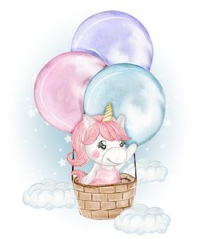 Ragazza carina unicorno vola con una mongolfiera