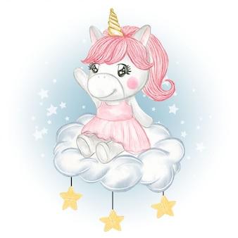 Ragazza sveglia dell'unicorno che si siede sulle nuvole e sulle stelle