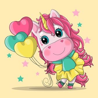 Ragazza carina unicorno con palloncini cuore fumetto illustrazione disegnata a mano.