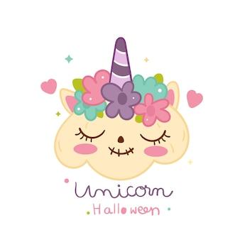 Unicorno carino stile zucca doolde di halloween