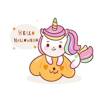 Unicorno carino halloween sulla zucca