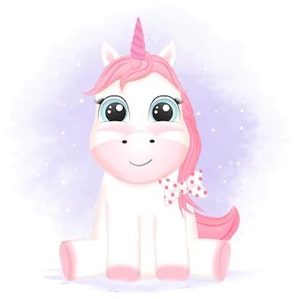 Illustrazione animale disegnata a mano dell'unicorno sveglio