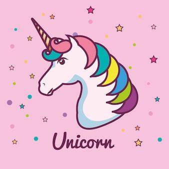 Testa di unicorno carino con criniera colorata e corno