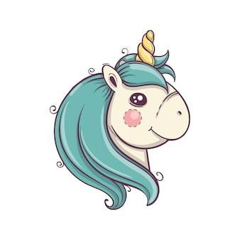 Testa di unicorno carino con guance rubiconde, ritratto. icona di vettore isolato unicorno. adesivo cavallo fantasia, badge patch. illustrazione del fumetto disegnato a mano. eps10