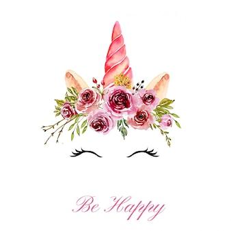 Simpatica testa di unicorno con corona floreale rosa dell'acquerello