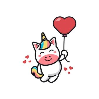 Unicorno sveglio che tiene l'illustrazione dell'icona del fumetto del palloncino di amore