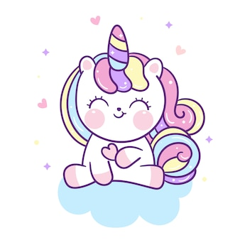 Unicorno sveglio che tiene mini cuore