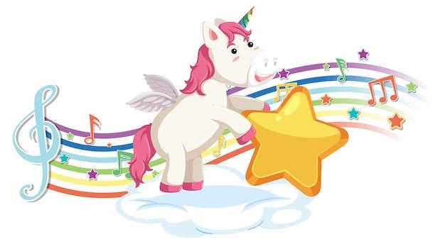 Simpatico unicorno con stella con simboli di melodia sull'arcobaleno