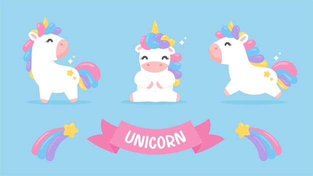 Insieme sveglio del fumetto del cavallo dell'unicorno con una stella cadente pastello dell'arcobaleno isolata su priorità bassa