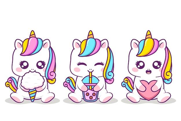 Simpatico unicorno che abbraccia oggetti diversi