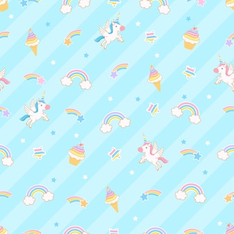 Simpatico cartone animato illustrazione unicorno con arcobaleno gelato e cupcake senza cuciture sfondo blu Vettore Premium