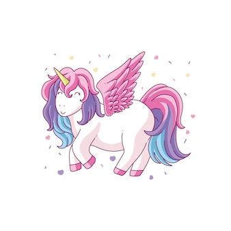 Disegno di illustrazione di unicorno carino