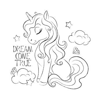 Citazione e colorazione di illustrazione di unicorno carino