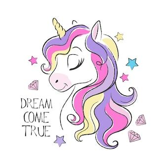 Illustrazione e citazione di unicorno carino