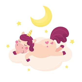 Un simpatico unicorno sta dormendo su una nuvola stampa per abbigliamento e articoli per bambini simpatici animali bambinor